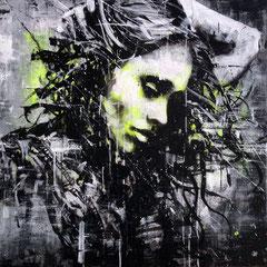 "<b>ELEGANCE OF THE WIND</b><br>80 x 80 cm<br><a style=""color:#db6464;"" target=""_blank"">Vendu</br></a> <alt=""art streetart portrait woman girl wind elegance urbanart france french artist graffiti"""