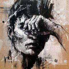 "<b>TROUBLE</b><br>25 x 25 cm<br><a style=""color:#db6464;"" target=""_blank"">Vendu</br></a> <alt=""art artiste peintre contemporain portrait homme graffiti commander acheter tableau france streetart savoie chambery graffmatt"">"