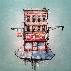 "<b>M&G SOUL FOOD DINER</b><br>36 x 36 cm<br><a style=""color:#db6464;"" target=""_blank"">Vendu</a> <alt=""art ville aerienne illustration peinture facade urbaine immeuble building facade painting streetart original drawing graffmatt "">"