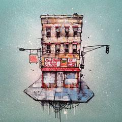 "<b>M&G SOUL FOOD DINER</b><br>36 x 36 cm<br><a style=""color:#db6464;"" target=""_blank"">Vendu</a> <alt=""art ville aerienne illustration peinture facade urbaine immeuble building facade painting streetart original drawing graffmatt "">"