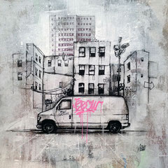 "<b>STREET LIFE</b><br>36 x 36 cm<br><a style=""color:#db6464;"" target=""_blank"">Vendu</br></a> <alt=""art artiste peintre contemporain newyork city urbain painting ville payage commander acheter tableau france streetart savoie chambery graffmatt"">"