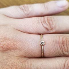 Ring aus 585 Gelbgold mit braunem Diamant 199€