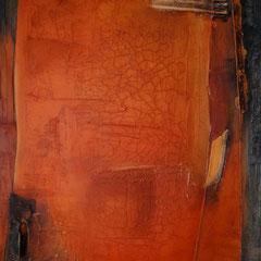 """""""das Rote in Öl im Rahmen""""   70x100x4,5    2014   (verkauft)"""