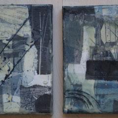 Papiercollage mit Tusche und Wachs auf Leinwand 15x15,   März  2018