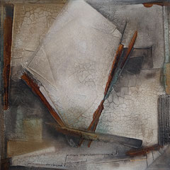 """"""" Nr 1 von 4 """", 80x80x4, Marmormehl/Pigmente/Öl/Schellack, August 2016"""