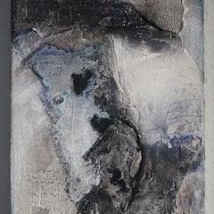 Sumpfkalk auf Holzkörper  20x30, Januar 2018  (verkauft)