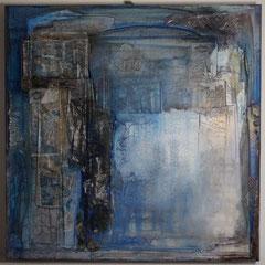""""""" transparent """"  80x80x4   Pigmente in Öl auf Marmormehl, Papiere   März  2019  (Privatsammlung)"""