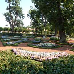 Peterhof, diese Blumenbeete befinden sich im unteren Teil
