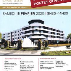 École Hôtelière Savoie Léman - CAP | BAC PROFESSIONNEL | BAC TECHNOLOGIQUE| MAN | BTS | LICENCE PRO  Portes ouvertes: Samedi 15 Février 2020 08:30-14:30  École Hôtelière - 40, boulevard Carnot - 74200 Thonon 04 50 71 13 80 | www.ecole-hoteliere-thonon.com