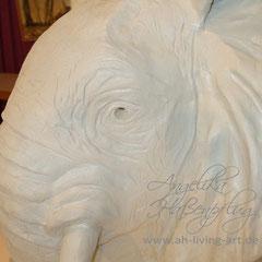PLastik aus Ton Elefantenkopf