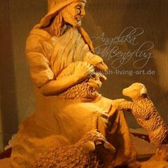 Ton Skulptur Hirte mit Schafen Terrakotta