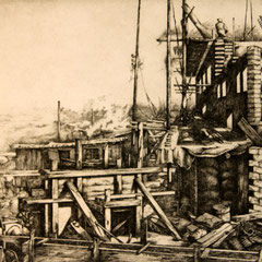 Baustelle in Barmen - Radierung - 20 x 27 cm - Aufl. unbekannt - 1937