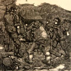 Holzarbeiter - Radierung - 23 x 20 cm - Aufl. 30 - 1932 - WVZ.R51