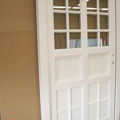 """Bei dieser Haustür wurden - nach Kundenwunsch -""""alte"""" Füllungen wiederverwendet, und fachgerecht integriert-"""