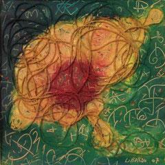 Teo Libardo - Fragiles labyrinthes n°442, 2007 -  technique mixte sur papier, 30x30 cm - © Adagp, Paris, 2017 - collection particulière