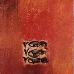Teo Libardo - Recouvrir-Découvrir n° 129, 1991 - acrylique et terre sur papier, 70x50 cm - collection particulière - © Adagp, Paris, 2017