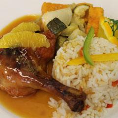 canette rotie à l orange petits legumes et risotto au parmesan le grand comptoir du cours saintes