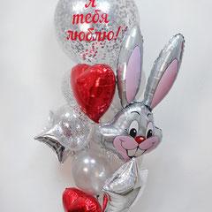 Большой шар с конфетти и шары сердца