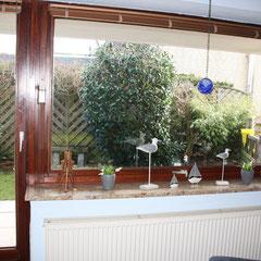 Fewo 1 Stube mit Blick auf die Terrasse