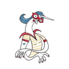 Illustration Biegsame Dame mit Einhorn, Zeichnung mit Tusche auf Papier und digitaler Farbe von Frank Schulz Art, zeigt eine Frau mit roter Nase