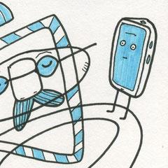 Illustration, Mann mit Badehose, Smoothie und Smartphone auf rot, Zeichnung auf Papier mit Tusche und Aquarell von Frank Schulz Art