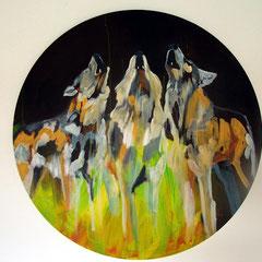 Wölfe, Acryl auf Leinwand, Durchmesser 90cm