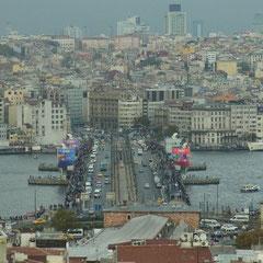 der Ausblick vom Dach der Karawanserei auf Istanbul (gut zu erkennen sind die Angler auf der Galatabrücke)