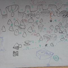 Instruktionstafel vom Tauchgang am Great Barrier Reef.Dieser Tauchgang zeigt den Tauchplatz Flynn Reef/Gordon's.Anhand solcher Tafeln wurde das Briefing durchgeführt