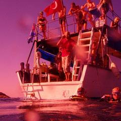 mit der Unterwasserkamera nach aussen  fotografiert