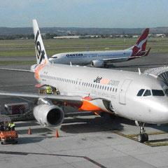 mit Jetstar flogen wir von Adelaide nach Cairns - hier unser Flieger