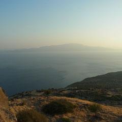 Blick auf die griechische Insel Lesbos