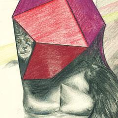 INPUT, 2014, Farbstift auf Papier, 15 x 16 cm