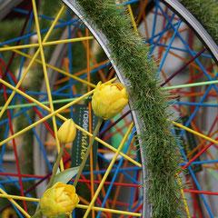 Steckboard / Pinnwand - recycelte Fahrradfelge (Foto Sylvia Harbig)