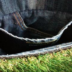 Innenfutter Umhängetasche - recycelte Jeans (Foto Karola Rinke)