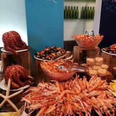 Meeresfrüchtebuffet, Hotel Iberostar Royal Andalus, Costa de la Luz, Spanien