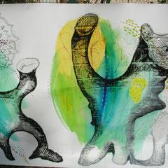 dessin détail d'une fresque de 10m de long sur 1m de large techniques mixtes 2008