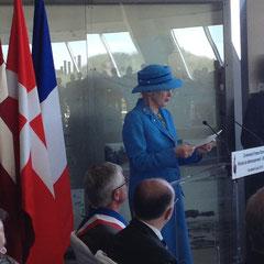 La Reine Margraethe du Danemark au Musée d'Utah Beach le 6 Juin
