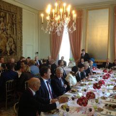 Déjeuner des chefs d'Etat et de gouvernement au chateau de Bénouville (Calvados) le 6 Juin