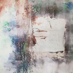 Seidenpapier eingearbeitet mit Acrylfarben und Spachtelmassen im Bild