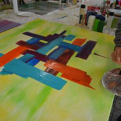 Abstrakt malen lernen mit Krakelierlack