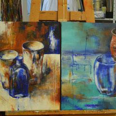 Alte Vasen malen mit Acrylfarben und Krakelierlack