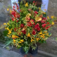 Bouquet deuil jaune orange 40 euros