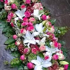 Dessus de cercueil  rose et blanc      200 euros