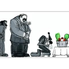 """Dessin de presse d'un article du journal """"Le Monde"""" sur les habits de deuil ( La vie en noir )."""
