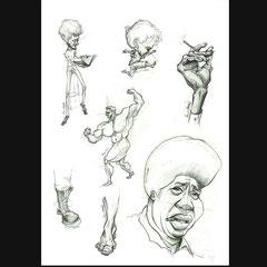 Dessins d'hommes pour le cours de caricature avec Jean Mulatier.