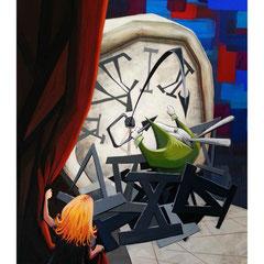 """Illustration réalisée pour l'exposition du salon du livre jeunesse de Villeurbanne. Le thème était """" Dans le terrier du lapin de Alice au pays des merveilles """". Gouache sur format A4."""