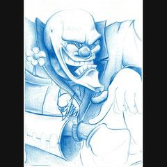 Dessin de clown, mine bleue sur format A4.