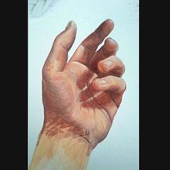 Etude documentaire de ma main gauche, gouache sur format A4.