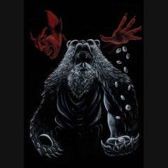"""Illustration du conte """" L'homme à la peau d'ours """" des frères Grimm. Gouache sur fond noir, format A4."""