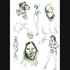 Dessins de femmes pour le cours de caricature avec Jean Mulatier.